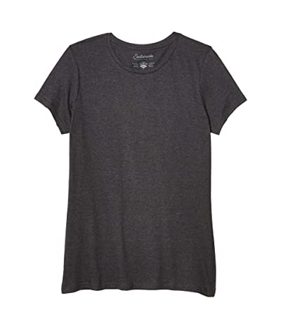 PACT Organic Cotton Featherweight Crew Neck Tee (Charcoal Heather) Women
