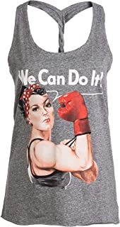 Rosie The Boxer   Funny Riveter Kickboxing Kick Boxing Racerback Tank Top for Women