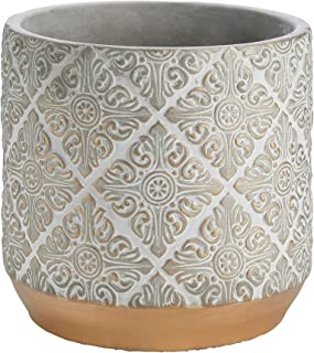 "INSPIRELLA Timeless Modern Indoor Flower Pot - 7"" Stunningly Detailed, Colorful Hand Glazed Cement Plant Pots with Drainag..."
