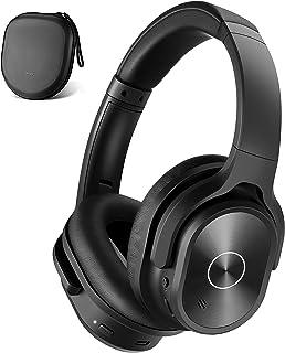 ZIHNIC Auriculares con cancelación de ruido activa, auriculares Bluetooth inalámbricos de graves profundos, tiempo de reproducción de 45 horas, sonido estéreo Hi-Fi, almohadillas cómodas para viajes/casa/oficina (negro)