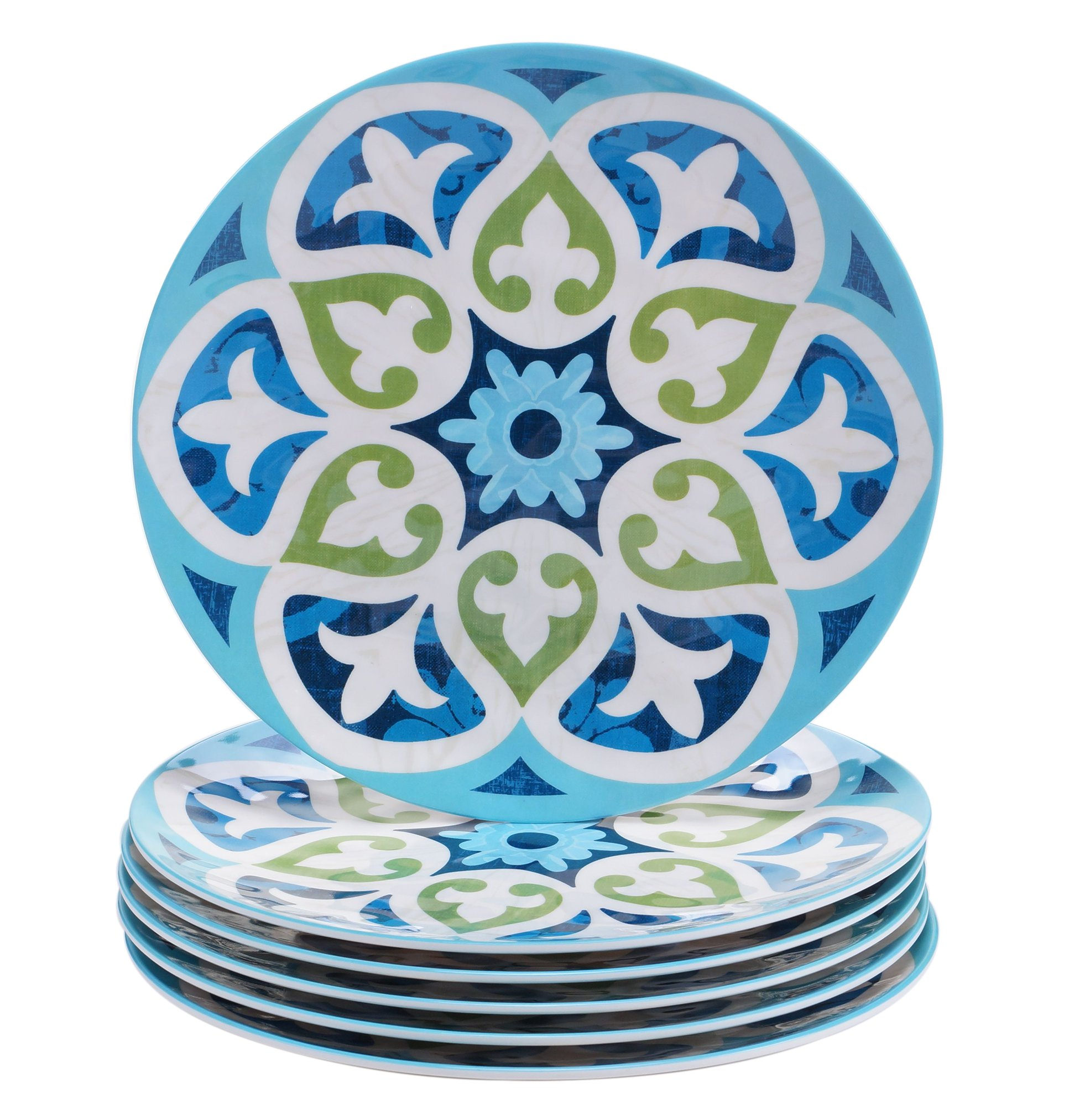 "Certified International Corp Barcelona Salad/Dessert Plates, 9"", Multicolored, Set of 6"