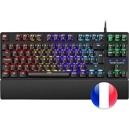 Mars Gaming MKXTKLRFR, Teclado Mecánico RGB LED, Switch Rojo, Francés