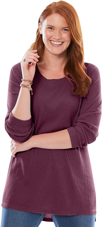 Woman Within Women's Plus Size Washed Thermal Waffle Raglan Sweatshirt