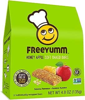 FreeYumm Allergen Free Granola Bars, Gluten Free, Dairy Free, Nut Free Snacks for Kids, Total of 15 Bars (Honey Apple)