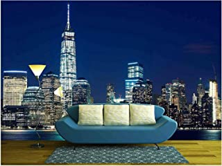 wall26 - Manhattan Skyline at Dusk, New York, United States - Removable Wall Mural | Self-Adhesive Large Wallpaper - 66x96 inches