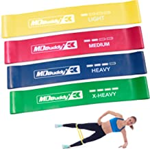 MDBuddy Resistance Loop Exercise Bands Set of 4 - Best Home Gym Fitness Exercise Bands for Legs, Glutes, Crossfit Workout, Physical Therapy Pilates Yoga & Rehab - Improve Mobility & Strength Training