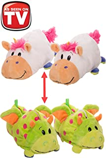 FlipaZoo AS SEEN ON TV Slippers Unicorn Transforming to Dragon Size Medium - Two in One Warm & Comfy Plush Slippers