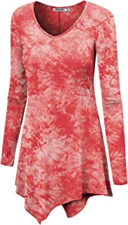LL Womens Long Sleeve Handkerchief Hem Tie Dye/Ombre Tunics - Made in USA