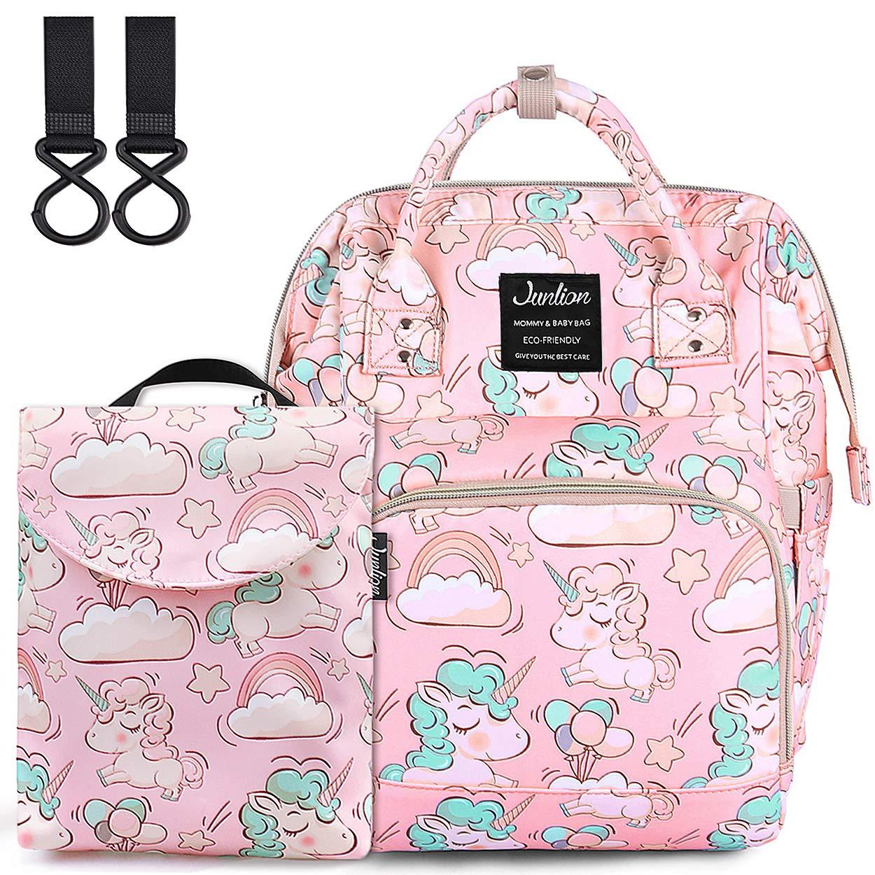 Chamqueen Unicorn Diaper Bag, Multi-Function Diaper Backpack Water-Resistant Baby Nappy Bag Baby Nursing Bags Pink