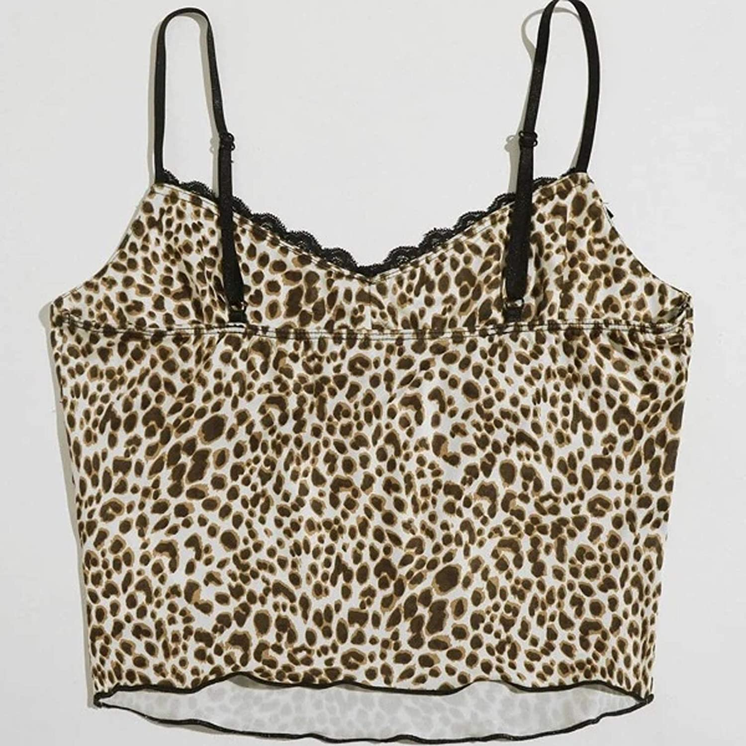 Girls Sexy Crop Top V-Neck Lace Leopard Print Backless Vest Womens Slim Fit Tank Top