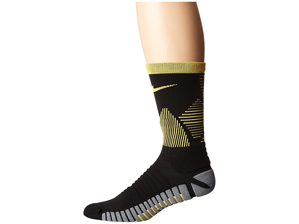 Nike Strike Mercurial Soccer (Black/Laser Orange/Laser Orange) Crew Cut Socks Shoes