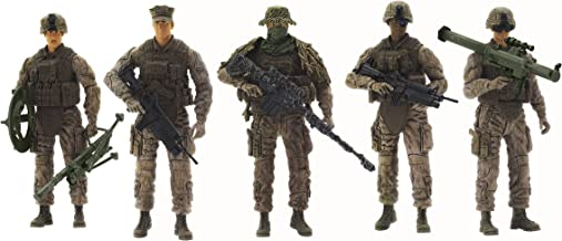 Sunny Days Entertainment Elite Force Marine Recon Action Figures – 5 Pack Military Toy Soldiers Playset | Realistic Gear and Accessories