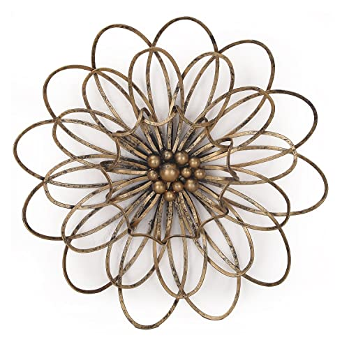 Adeco DN0018 Flower Urban Design Metal Wall Decor For Nature Home Art Decoration Kitchen Gifts