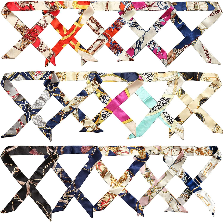 SIMIN 15 PCS Pañuelo para Mujer, Diademas para Regalo Pañuelo para el cuello de Seda bufanda para Mujer, diadema - 100 * 4 CM