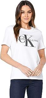 Calvin Klein Jeans Women's Washed Monogram Straight T Shirt, Bright White, M