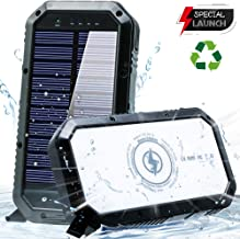 Solar Phone Charger 20000mAh Solar Charger for Cell Phone - Wireless Solar Power Charger Solar Powered Phone Chargers iPhone 6+Times - [Updated] Portable Power Bank -Solar Power Bank (Black) (Black)