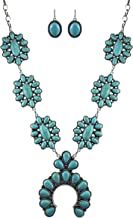 Turquoise Vintage Flower Metal Statement Necklace/w Earrings No.786