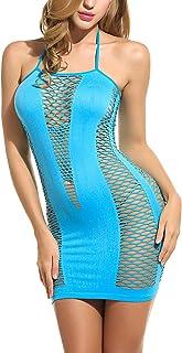 Avidlove Women's Fishnet Lingerie Mesh Hole Strap Chemise Badydoll Mini Dress