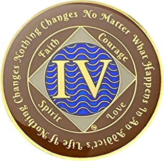 NA 4 Year Gold Plated Medallion, Narcotics Anonymous Coin