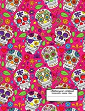Multipurpose Notebook Composition Journal Diary: Colorful Sugar Skulls with Flowers on Pink Background - 8.5