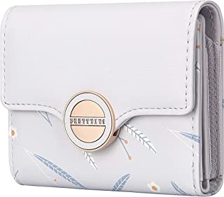 CILLA Leaf Trifold Small Wallet with Coin Purse Credit Card Holder for Women