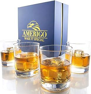 Amerigo Crystal Whiskey Glass Set of 4 in Luxury Gift Box - Heavy Base Old Fashioned Whiskey Glasses 12oz for Scotch - Whi...