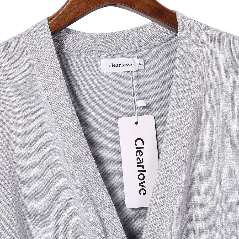 Clearlove Damen Strickjacke Lang Cardigan Langarm Open-Front Strickjacke(Verpackung MEHRWEG) Light Grey