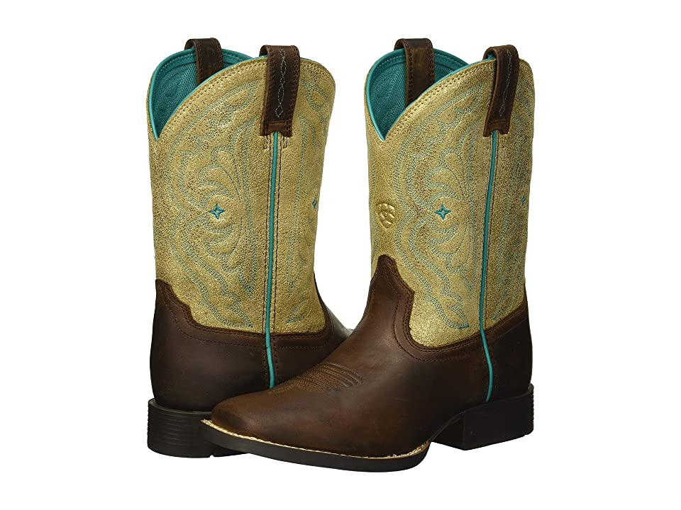 Ariat Kids Quickdraw (Toddler/Little Kid/Big Kid) (Distressed Brown/Metallic Gold) Cowboy Boots