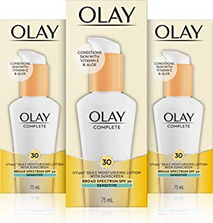 Olay Complete Lotion Moisturizer with SPF 30 Sensitive, 2.53 Fluid Ounce, Pack of 3
