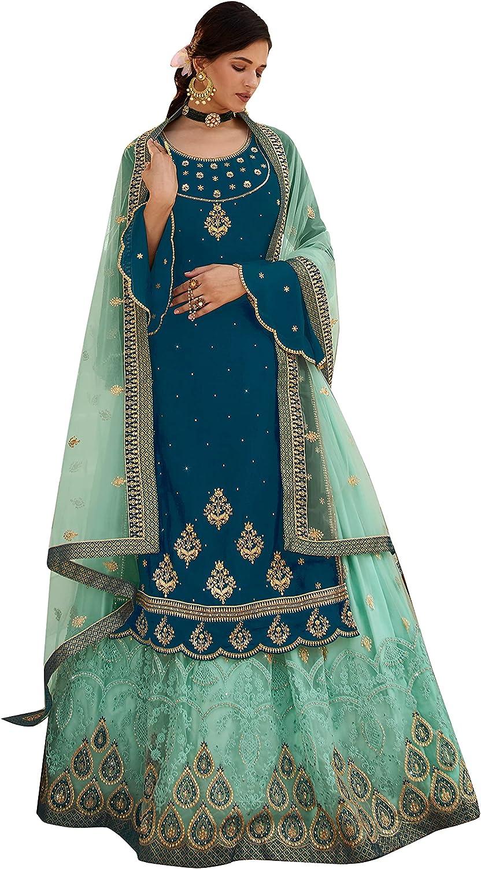 Sharara Suit For Women Super Model Be super welcome S Portland Mall Georgette Rangoli Sea Green