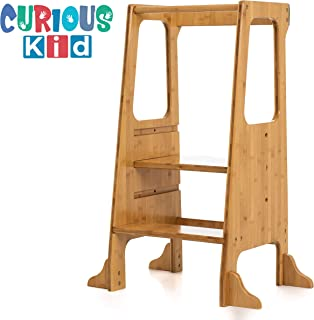 Curious Kid Kitchen Helper Stool Made from Bamboo for Superior Strength - Perfect Learning Tower for Kids, Toddlers, and Small Children. 3 Adjustable Heights for Kids of All Ages.