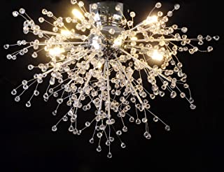 GDNS Chandeliers Hand Made Firework LED Light Stainless Steel Crystal Pendant Lighting Ceiling Light Fixtures Chandeliers Lighting,Dia 23.5 inch