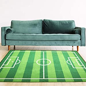 Yincimar Kids Play Carpet,6.6x5.0 ft Soccer Field Play Mat Area Rug Large Size Football Field Carpet Play Game Sports Rug for Boy Toddler Kids Room Bedroom Playroom