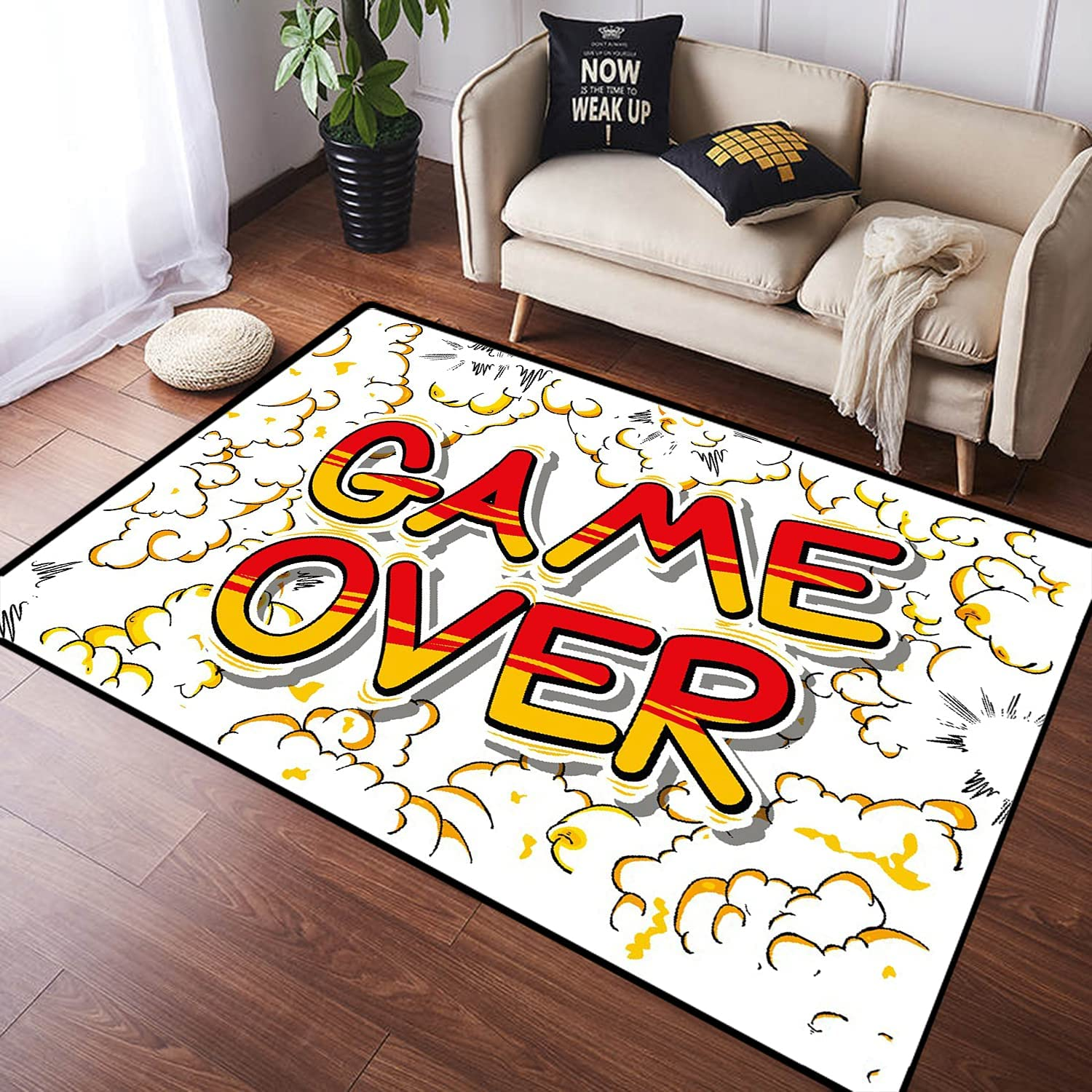 ZOMOY Long Floor Mat Carpet Game Over A Style Comic on Book Dealing full Max 53% OFF price reduction Word