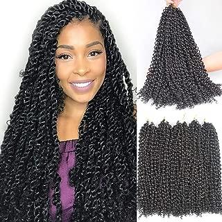 Leeven 6pcs Passion Twist Braiding Hair Natural Black Water Wave Crochet Passion Twist Hair for Black Women 18 Inch Long Bohemian Braids Synthetic Crochet Hair 2#