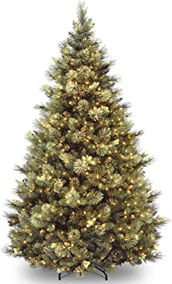 National Tree Company Pre-lit Artificial Christmas Tree   Includes Pre-strung White Lights and Stand   Flocked with Cones   Carolina Pine - 7.5 ft