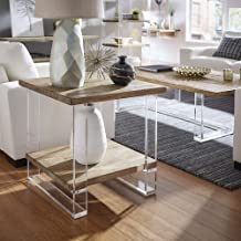 iNSPIRE Q Artisan Annika Reclaimed Wood and Acrylic End Table by
