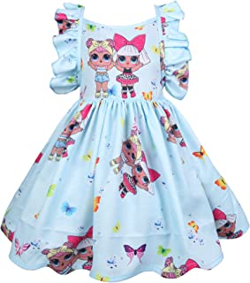 AmyStylish Little Girls A Line Summer Breathable Casual Play-Wear One-Piece Birthday Party Sun Dress