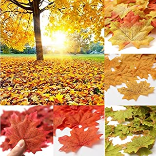 SunAngel Fall Artificial Maple Leaves - Assorted Colors for Halloween, Fall Weddings & Autumn Parties Decoration (350pcs)