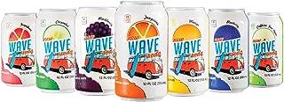 Wave Soda Caffeinated Sparkling Water w/ Fruit Juice 24 Count 7 Flavor Variety Pack: 4 Tangerine 4 Blackberry 4 Apple 4 Mango 3 Blueberry 3 Cucumber 2 Grapefruit - Vegan, Gluten-Free, No Sugar Added