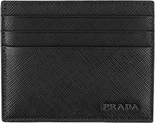 Prada Saffiano Leather Bicolor Card Case, Nero/mercurio (Black/Grey)