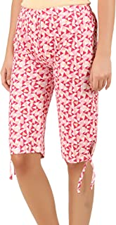 Elk Womens Cotton Printed Shorts Pink Color