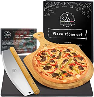 NeoCasa Black Ceramic Pizza Stone Pan Set with Bamboo Pizza Peel & Pizza Cutter - Baking Stones for Oven, Grill & BBQ - St...