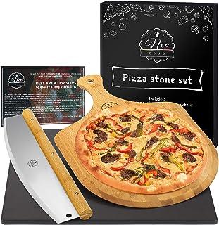Kit Pierre à Pizza Noire Céramique Cordiérite NeoCasa avec Raclette Pelle à Pizza et Trancheur à Pizza - Pierre de cuisson...