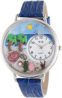 Whimsical Watches Unisex U1212001 Palm Tree Royal Blue Leather Watch