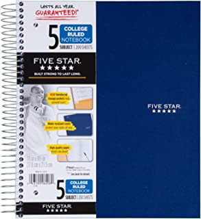 Five Star Spiral Notebook, 5 Subject, College Ruled, 200 Sheets, 11 x 8.5 Inch, 1 Notebook, Assorted Colors - Color May Va...