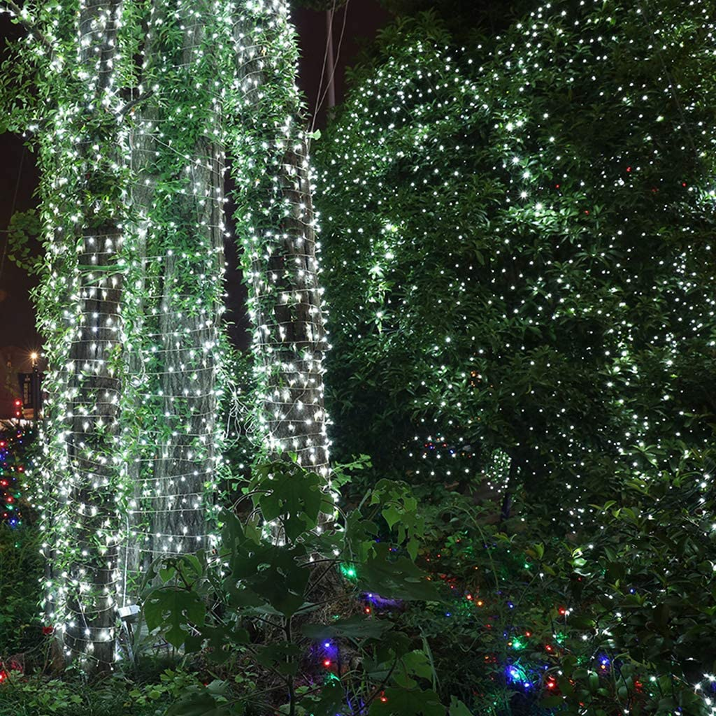 JYZT Weiß 8 Modi Führten Lichternetz, Partei Hochzeits Dekorations Weihnachts Fee Lichterketten, wasserdichte Festival Garten Lampe Outdoor 4.5×1.5m 300LED 6×4m 880led