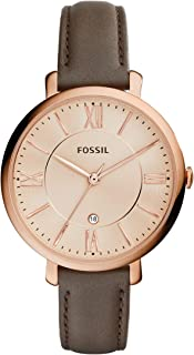 Fossil Jacqueline Women's Rose Gold Dial Leather Band Watch - ES3707