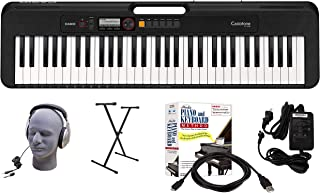 Casio CT-S200BK 61-Key Premium Keyboard Package with Headphones, Stand, Power Supply, 6-Foot USB Cable and eMedia Instruct...