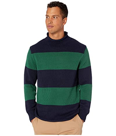J.Crew Unisex 1988 Cotton Striped Rollneck Sweater (Stripe Deep Ultramarine) Men